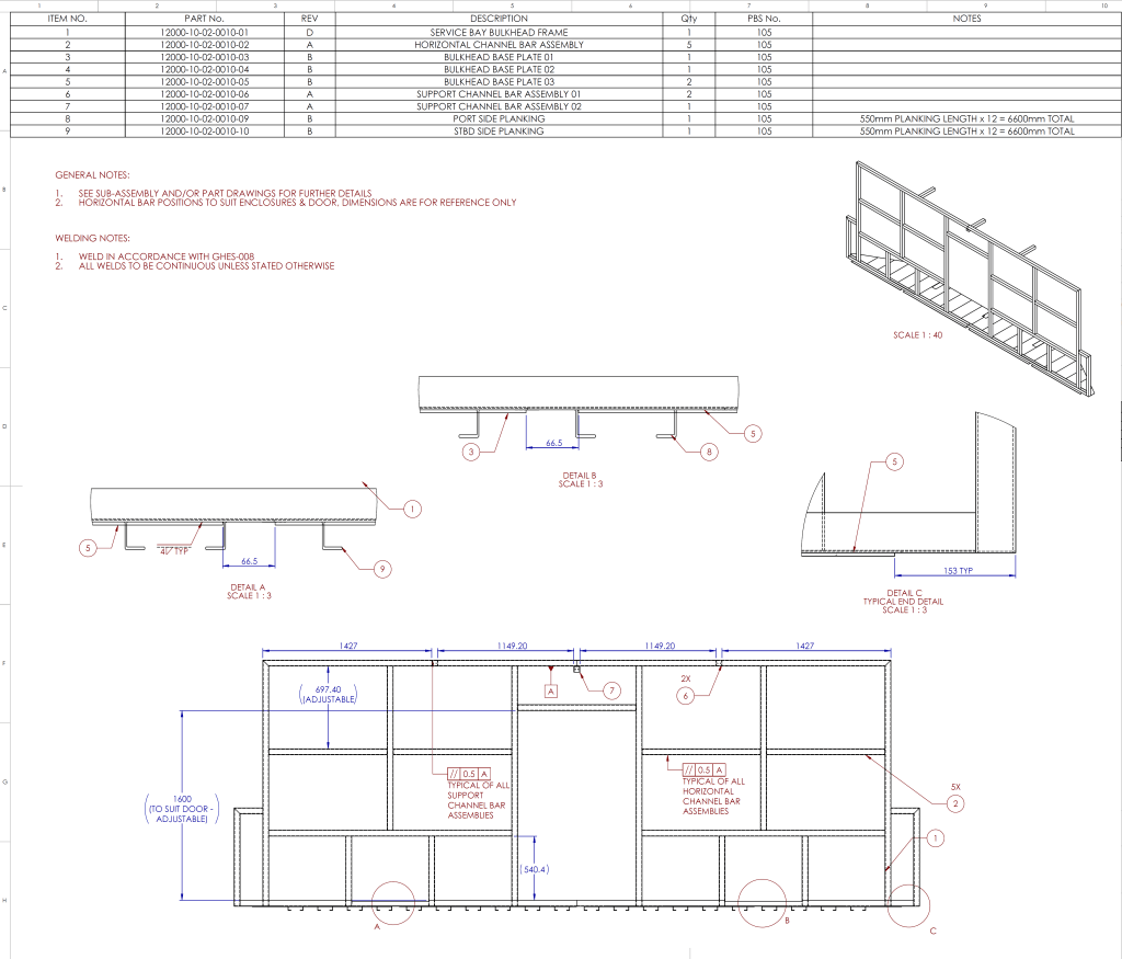 Service bay production drawing.